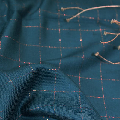 Carreaux Petrol Blue and Metallic Copper Viscose Twill by Eglantine et Zoe