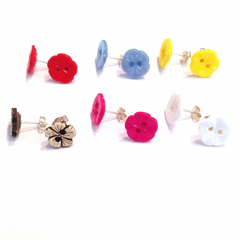 Flower-button-stud-earrings