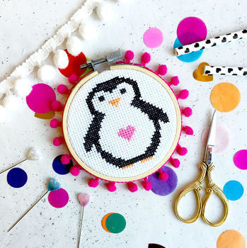 Penelope Penguin Cross Stitch Kit by the Make Arcade