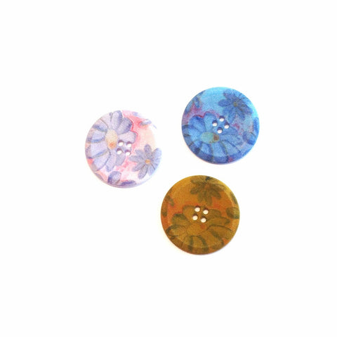 Fabric Textured Floral Button