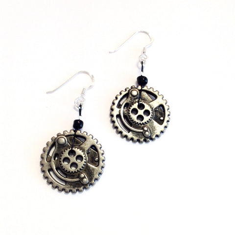Steampunk Cog Button Earrings