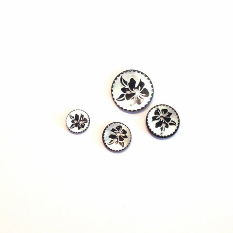 Silver and Black Flower Print Button