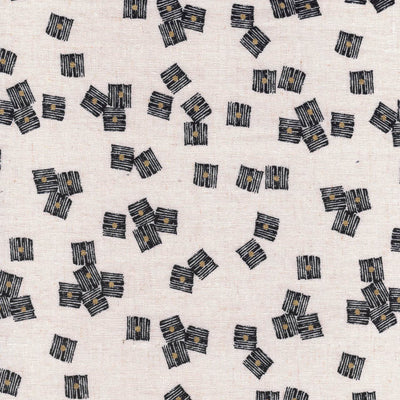 Squares Midnight Garden Cotton Linen Fabric by Dashwood Studios