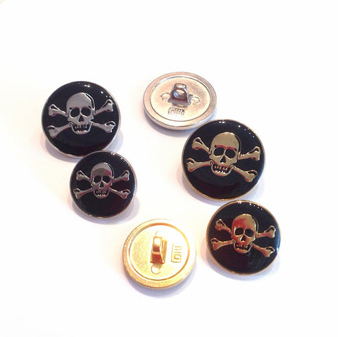 Black and Gold or Silver Skull and Cross-Bone Buttons