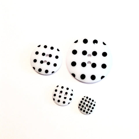 White-with-black-polka-dot-buttons
