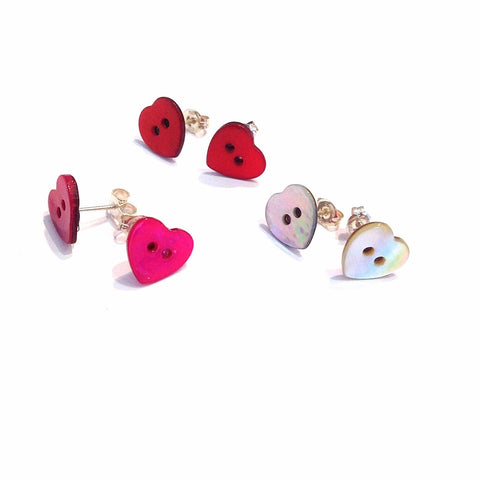 Shell-heart-button-stud-earrings-sterling-silver-backs