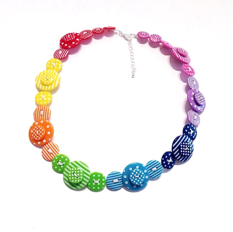 Rainbow Polka Dot and Striped Button Necklace