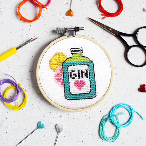 Gin Time Mini cross stitch kit by The Make Arcade