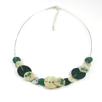 Anna Button Necklace Green