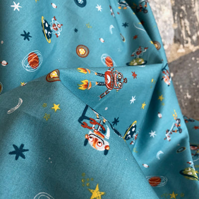 Cool Space Cotton Poplin Fabric Teal By Poppy