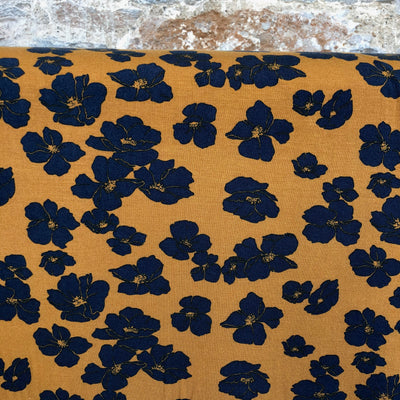 Flowers Tencel Modal Jersey Mustard and Navy Fabric by Poppy
