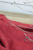 Carreaux Red and Metallic Copper Viscose Twill by Eglantine and Zoe