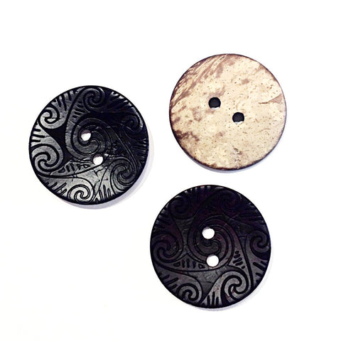 Patterned Engraved Coconut Shell Buttons