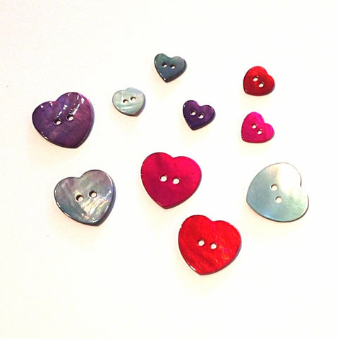 Painted Shell Heart Buttons