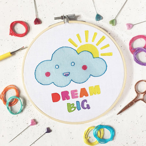 Dream big embroidery kit by The Make Arcade