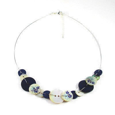 Anna Button Necklace Navy Blue