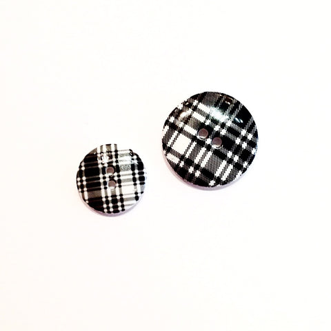 Black and White Tartan Button