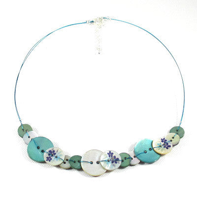 Anna Button Necklace Turquoise