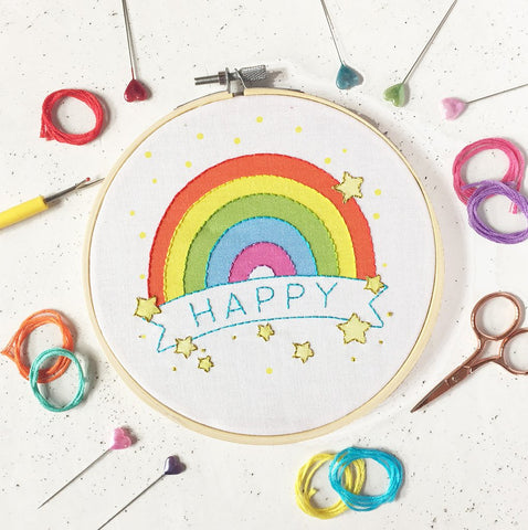 Happy Rainbow Embroidery Kit by The Make Arcade