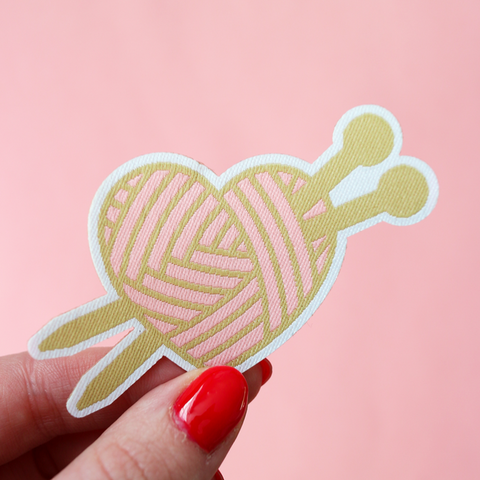 Love Knitting woven iron on patch by Crafty Pinup