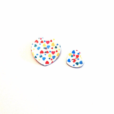 Multi Coloured Shell Heart Buttons