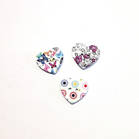 Heart Wooden Patterned Buttons