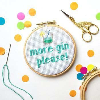 More Gin Please Cross Stitch Kit by the Make Arcade