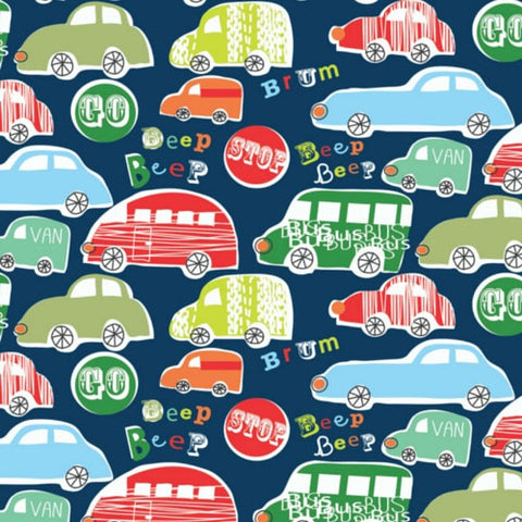 Beep Novelties Car Cotton Fabric by Dashwood Studies