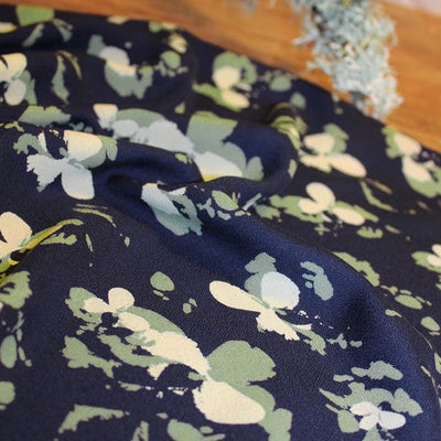 Clovers Atlantique Blue Viscose Crepe Fabric by Eglantine and Zoe