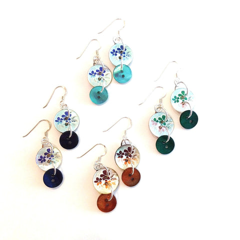 Anna-button-earrings-flower-shell-Blue-Navy-Turquoise-Red-Orange-Green-buttons