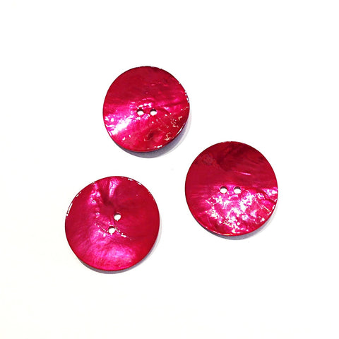 Cerise Painted Shell Buttons