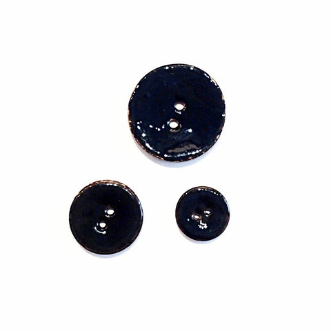 Black Glazed Coconut Shell Buttons