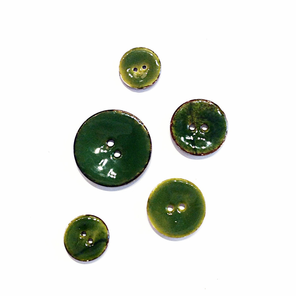 Green Glazed Coconut Shell Buttons