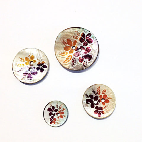 Orange Flower Print Shell Buttons