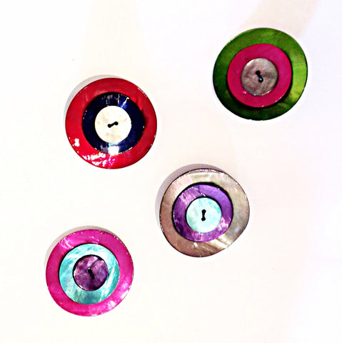 Painted Shell Button Brooches