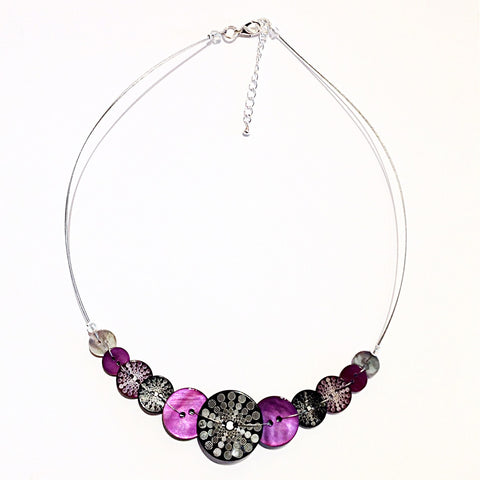 purple-and-black-Celeste -Button -Necklace