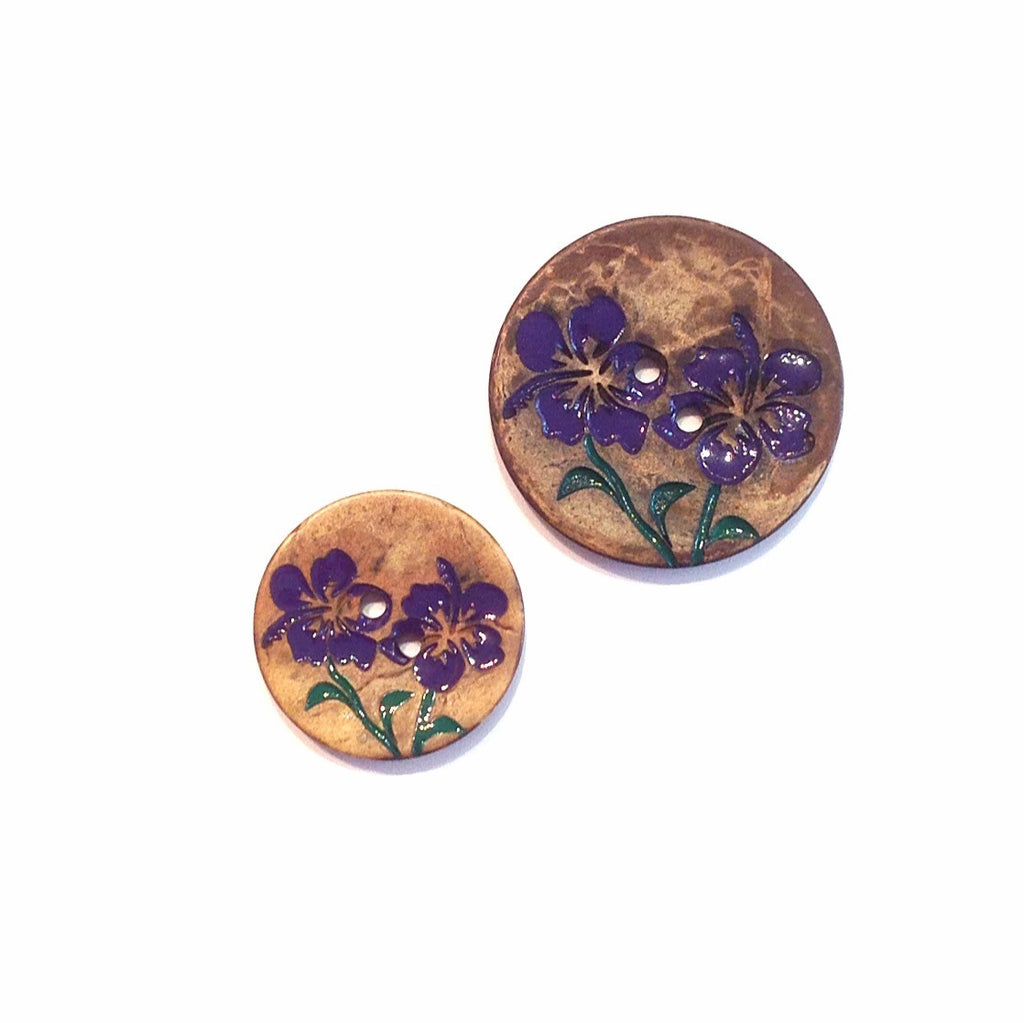 Painted Hibiscus Flower Button