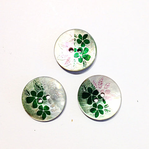 Green Flower Print Shell Buttons
