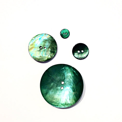 Dark Green Painted Shell Buttons