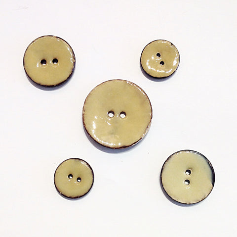 Beige Glazed Coconut Shell Buttons