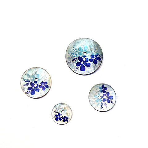 Blue Flower Print Shell Buttons