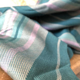 Striped Pink and Teal Viscose Fabric