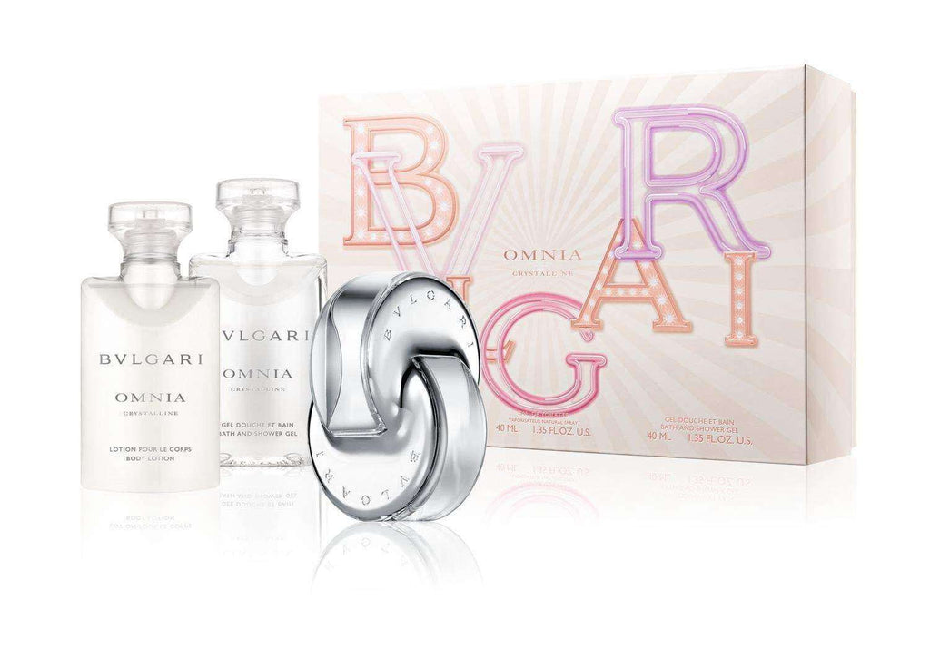 Bvlgari Omnia Crystalline 40ml EDT Giftset For Her 40ml edt, showergel, bodylotion and Pouch  Bvlgari Giftset For Her