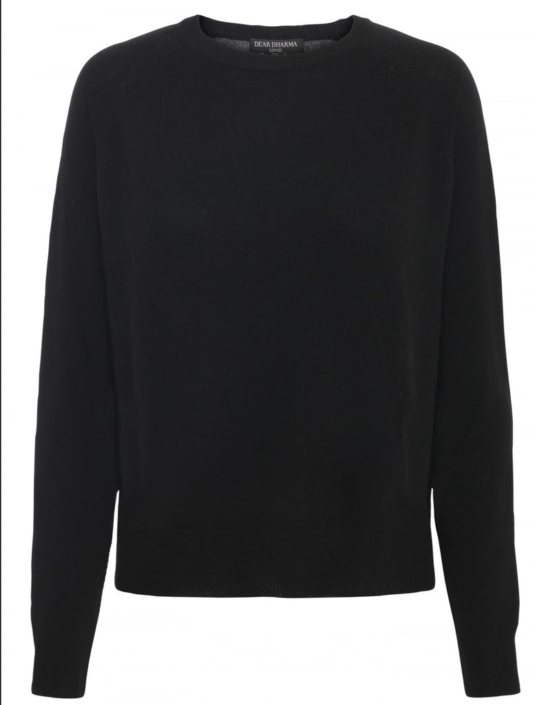 Mona Black Cashmere Jersey Round Neck - Medium