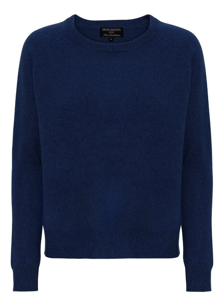 Mona Navy Cashmere Jersey Round Neck - medium
