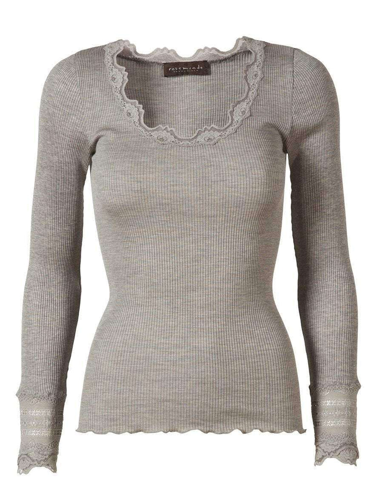 Rosemunde Lace Top Long Sleeve In Silk - Grey S  Rosemunde Clothing