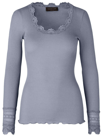 Rosemunde Lace Top Long Sleeve in Silk - Soft Blue - My Perfume Shop