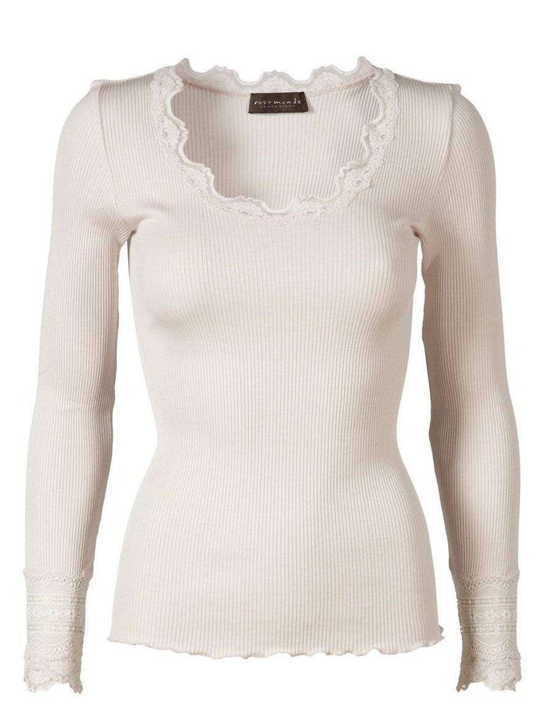 Rosemunde Lace Top Long Sleeve In Silk - Soft Powder S  Rosemunde Clothing