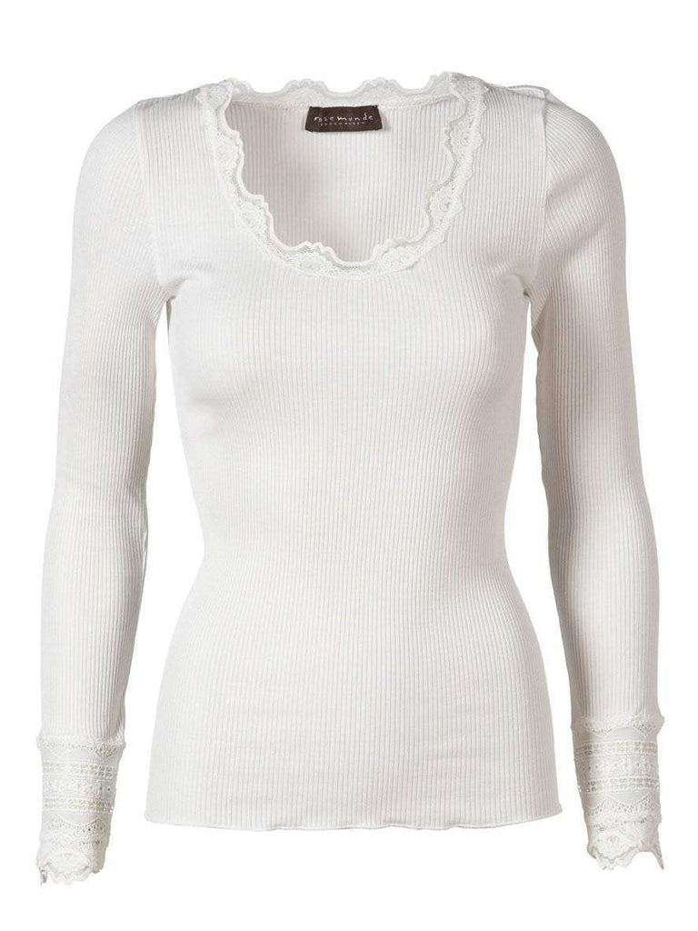 Rosemunde Lace Top Long Sleeve In Silk - White L  Rosemunde Clothing