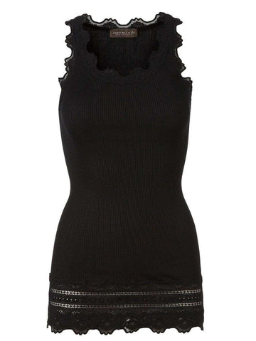 Rosemunde Lace Top w Lace Edge in Silk - Black - My Perfume Shop